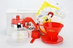 KONO Meimon 1-2 Cup Coffee Dripper with Glass Carafe SET - RED